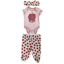 Sterling Baby Preemie 3-Piece Apple Daddy Bodysuit, Pant, and Headband Set in Red