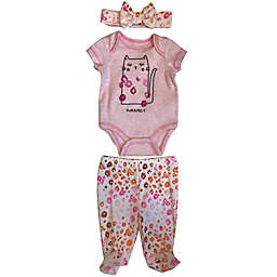 Sterling Baby Preemie 3-Piece Purrfect Cat Bodysuit, Pant, and Headband Set in Pink