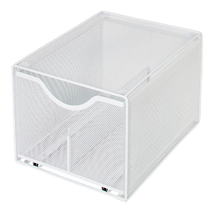 Alternate image 1 for Squared Away™ Large Metal Mesh Stacking Drawer in White