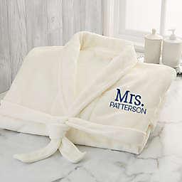 Stamped Elegance Wedding Embroidered Luxury Fleece Robe in Ivory