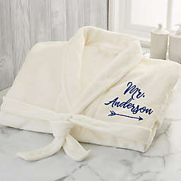 """""""Mr."""" Embroidered Luxury Fleece Robe in Ivory"""