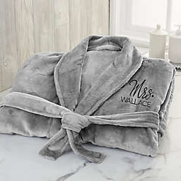Stamped Elegance X-Large Wedding Embroidered Luxury Fleece Robe in Grey