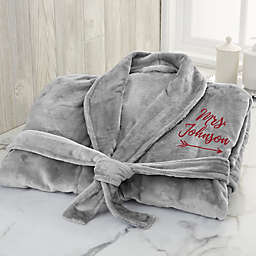"""""""Mrs."""" Large/X-Large Embroidered Luxury Fleece Robe in Grey"""
