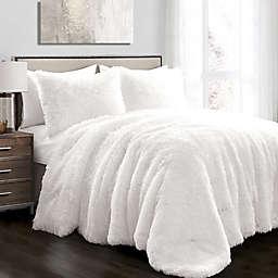 Lush Décor Emma Faux Fur 3-Piece King Comforter Set in White