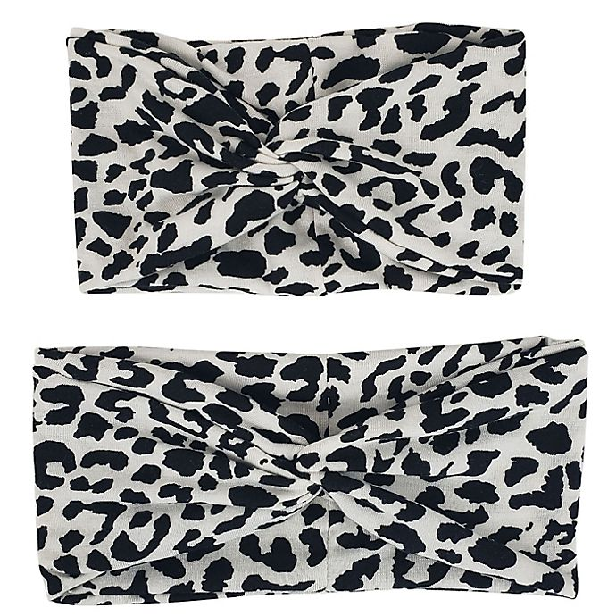 Alternate image 1 for Tiny Treasures Mommy and Me Leopard Headwrap Set in Black/Ivory