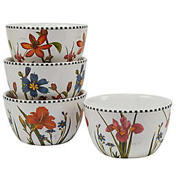 Certified International Botanical Floral Dessert/Ice Cream Bowls (Set of 4)