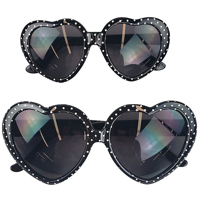 Alternate image 1 for Tiny Treasures 2-Piece Mommy and Me Heart-Shaped Sunglasses Set in Black