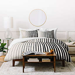 Deny Designs Black Vertical Stripe Twin/XL Twin 2-Piece Duvet Cover Set