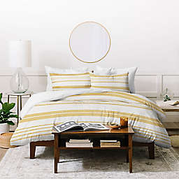 Deny Designs Golden Stripes 2-Piece Twin/Twin XL Duvet Cover Set in Yellow