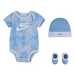 Nike® Size 0-6M 3-Piece Tie Dye Bodysuit, Bootie, and Hat Set