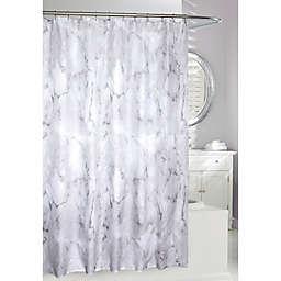 Moda 71-Inch x 71-Inch Marble Wash Shower Curtain in White/Black