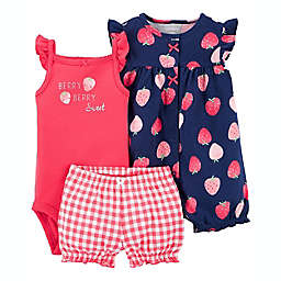 carter's® 3-Piece Berry Sweet Bodysuit, Romper, and Short Set