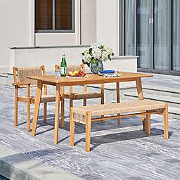 Chesapeake 4-Piece Wicker Wood Outdoor Dining Set in Honey