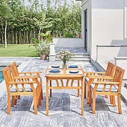 Vifah Kapalua 5-Piece Wood Outdoor Dining Set in Honey
