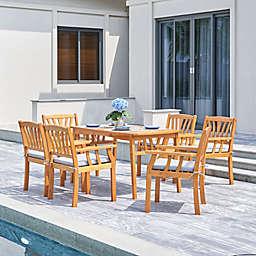 Vifah Kapalua 7-Piece Wood Outdoor Dining Set in Honey