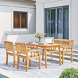 Vifah Kapalua 4-Piece Wood Outdoor Dining Set with Cushion in Honey