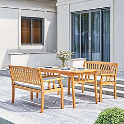 Vifah Kapalua 3-Piece Wood Outdoor Dining Set with Cushion in Honey