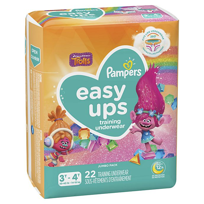 Alternate image 1 for Pampers® Easy Ups™ Size 3-4T 22-Count Jumbo Pack Girl's Training Underwear