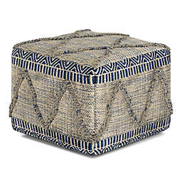 Simpli Home Sweeney Handloom Woven Pattern Square Pouf in Blue/Natural