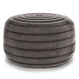 Simpli Home Vivienne Velvet Fabric Round Pouf in Grey