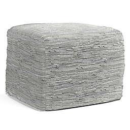 Simpli Home™ Fredrik Woven Leather Square Pouf in Cream