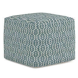Simpli Home Graham Cotton Square Pouf in Patterned Teal and Natural