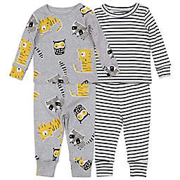 Mac & Moon Size 24M 4-Piece Animals Organic Cotton Pajama Set in Heather Grey