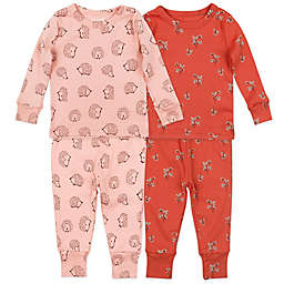 Mac & Moon 4-Piece Hedgehog Organic Cotton Pajama Set in Pink