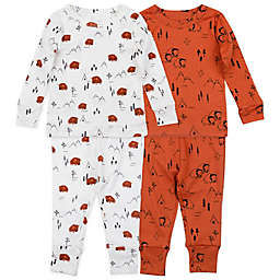 Mac & Moon Size 24M 4-Piece Buffalo Organic Cotton Pajama Set in Copper
