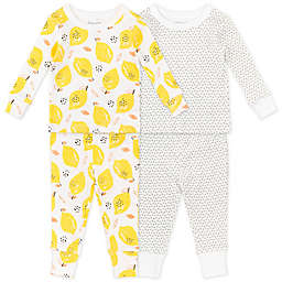 Mac & Moon 4-Piece Stripe & Lemon Print Cotton Pajama Set in Yellow