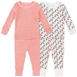 Mac & Moon 4-Piece Stripe & Floral Print Cotton Pajama Set in Pink