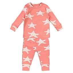 Oliver & Rain 2-Piece Starfish Organic Cotton Pajama Set in Pink