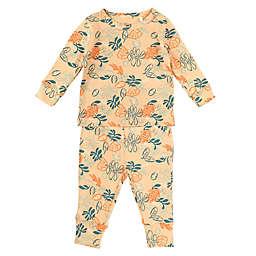 Oliver & Rain 2-Piece Jungle Floral Organic Cotton Pajama Set in Orange
