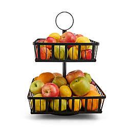 Gourmet Basics by Mikasa® 2-Tier Stripe Rotating Fruit Basket in Black