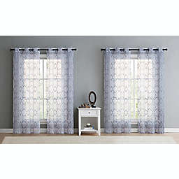 VCNY Home Mila Embroidered Trellis Grommet 4-Piece 84-Inch Sheer Window Panel Set in White/Grey
