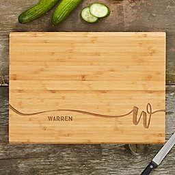 Script Initial Bamboo Cutting Board