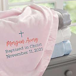 Christening Day Embroidered Pink Satin Trim Baby Blanket