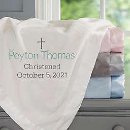 Christening Day Embroidered Ivory Satin Trim Baby Blanket