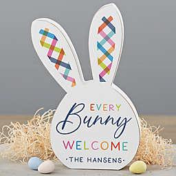 8-Inch Bright Plaid Easter Bunny Shelf Sitter Decoration