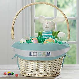 Colorful Wicker Easter Basket With Drop-Down Handle