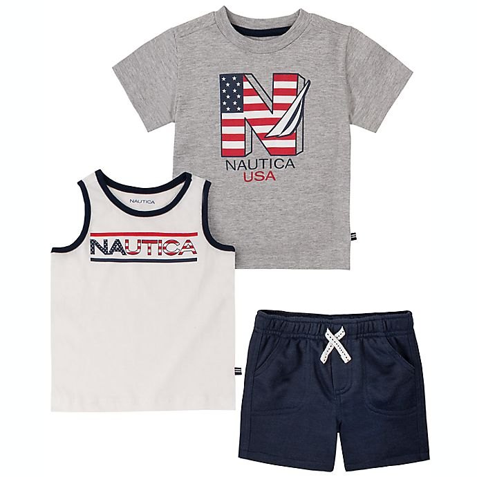 Alternate image 1 for Nautica® Size 24M 3-Piece Patriotic T-Shirt, Tank and Short Set in Red/White/Blue
