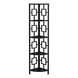 Monarch Specialties Corner Etagere Bookcase in Black
