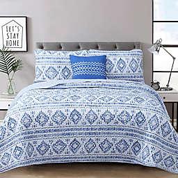 Austin 4-Piece Reversible Quilt Set in Indigo