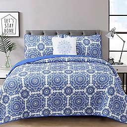 Briar 4-Piece Reversible Quilt Set in Blue