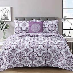 Dustin 4-Piece Reversible Quilt Set in Purple