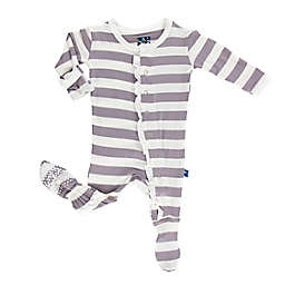 KicKee Pants® Size 0-3M Feather Contrast Stripe Long Sleeve Footie in Grey