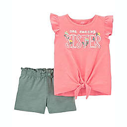 carter's® Size 12M 2-Piece Amazing Sister Jersey Tee and Short Set in Orange/Green