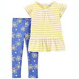 carter's® 2-Piece Daisy Shirt and Pant Set in Yellow/Blue