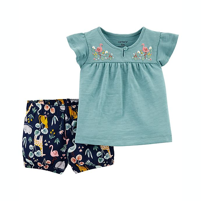 Alternate image 1 for carter's® 2-Piece Animal Print Slub Jersey Top and Short Set in Blue/Navy