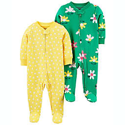 carter's® 2-Pack Floral/Dot Sleep & Play Footed Pajama in Yellow/Green